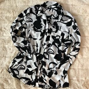 LOFT Black and White Sheer Button Up Floral Top